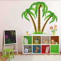 kcik195 Full Color Wall decal palm trees coconuts children's bedroom