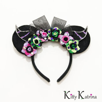 Maleficent Mouse Ears Inspired Headband, Disney Ears, Maleficent Costume, Maleficent Party, Sleeping Beauty Crown, Sleeping Beauty Party