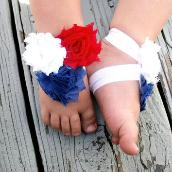 Baby Barefoot Sandals .. Red, White and Blue Flowers .. Toddler Sandals .. Newborn Sandals