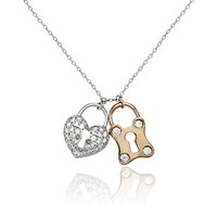 SALE 14K Rose Gold 1.2TCW Pave Russian Lab Diamond Heart & Lock Necklace Pendant