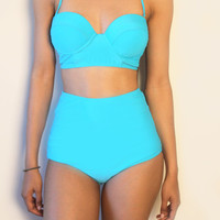 Blue Vintage High waist swimsuit
