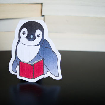 Magnetic bookmark of Pacey the Penguin! Book accessories, Childrens art, School supplies, Book gift, Animal collectibles, BOOK FARM ANIMALS