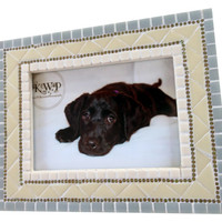 Neutral Mosaic Picture Frame in Ivory and Gray, Nursery Decor, Gift Idea