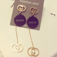 Gucci Popular Women Personality Titanium Steel Long Pendant GG Letter Exaggerated Earring Earrings I12613-1