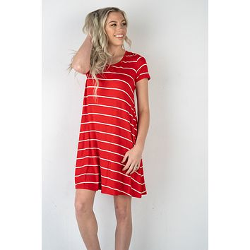 The Abby Striped Dress in RED (S-XL)