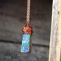 Rainbow Titanium Quartz Necklace /  Flame Aura Quartz Stick Copper Wire Wrapped Necklace