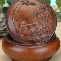 StealStreet Faux Wood Giraffe Jewelry Trinket Box Collectible Decoration Container