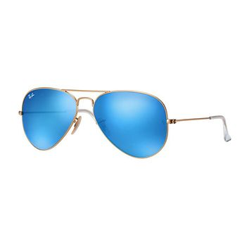 Ray Ban Aviator Sunglasses Matte Gold with Flash Mirror Lenses RB3025