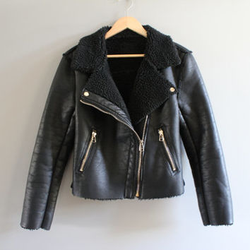 US Free Shipping Black Biker Jacket Soft Synthetic Leather Shearling Lining Heavy Zipper 90s Vintage Size M #O112A