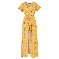 Floral Print Short Sleeve Wrapped V Neck Maxi Romper Dress (CLEARANCE)