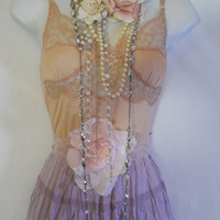 Silk maxi dress lilac lavender lace gypsy bohemian rose  romantic small  by vintage opulence on Etsy