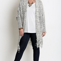Fringe Sweater Duster Cardigan in Plus Size