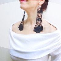Lace earrings, Extra Long Floral Black Earrings, Leather Black Rose, Steampunk Jewelry, Fashion Models Jewelry