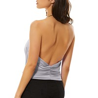 Beaded Neck Halter Backless Top