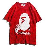 Bape Aape X  Coca-Cola Popular Unisex Camouflage Casual Short Sleeve Round Collar Couple T-Shirt Pullover Top Red I12098-1