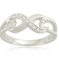 Sterling Silver Infinity Rope Diamond Ring (0.02 cttw, I-J Color, I2-I3 Clarity), Size 6
