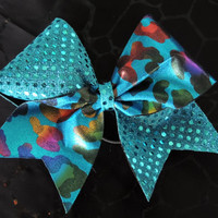 3 inch turquoise sequin dot multicolor by BragAboutItCheerBows