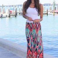 Coral and Mint Printed Maxi Skirt