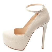 Textured Ankle Strap Platform Pumps by Charlotte Russe