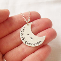 Shoot for the Moon Necklace ~ Sterling Silver, Hand Stamped, Inspirational Jewelry, Keepsake, Arrow, Gift