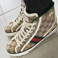 Mens Gucci GG Tennis 1977 High-Top Sneakers Shoes-1