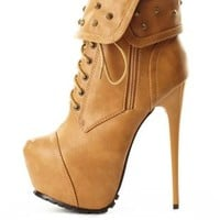 Studded Cuff Lace-Up Platform Booties by Charlotte Russe - Tan