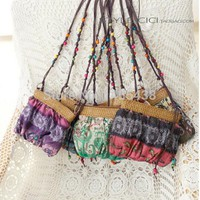 Boho Bohemia Exotic Floral Straw Weave Strap Cloth Handbag Beach Messenger Bag