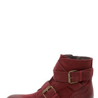 Steve Madden Teritory Burgundy Buckled Ankle Boots