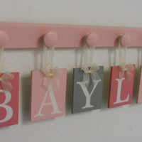 Pink and Gray Nursery Decor - Baby Name Signs - Wall Letters for BAYLEE with 6 Light Pink Wooden Pegs