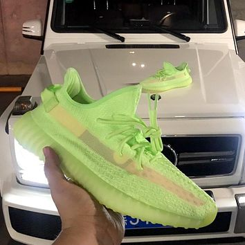 Samplefine2 Adidas Yeezy Boost 350 V2 2019 new fluorescent green hollow version of luminous mesh breathable sneakers