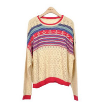 Women's Bohemian Hollow Pullover Sweater with Anchors