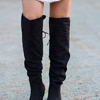 Knee High Fold Over Lace Suede Boots-BLACK