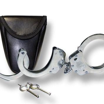 Silver Double Lock Handcuffs With Carry Case