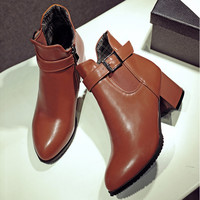 On Sale Hot Deal Winter Korean Plus Size With Heel Zippers Boots [6366200516]