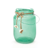 Green Glass Canning Jar With Decorative Seashells