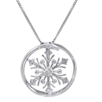 Diamond Accent Snowflake in Circle Pendant-Necklace in Sterling Silver