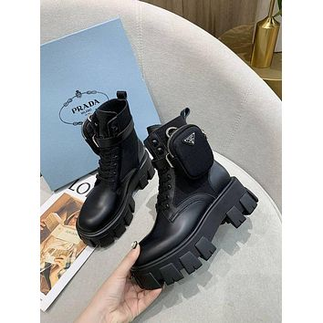 prada trending womens black leather side zip lace up ankle boots shoes high boots 39