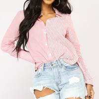 Reese Striped Top - Red/White