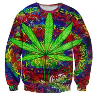 Psychedelic Leaf Print Sweater