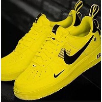 Nike Air Force 1 Classic Hot Sale Women Men Leisure Flat Sport Running Shoes Yellow