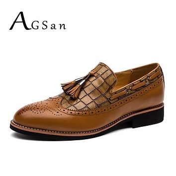 AGSan brogue shoes for men classic tassel loafers mens black burgundy brown for wedding party pointed toe leather oxfords