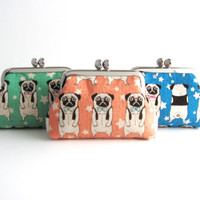 Frame Coin Purse- Pug in Pink, Blue, Aqua