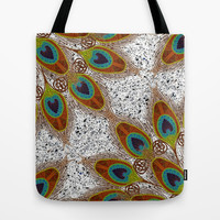 Pretty Peacock Feathers Tote Bag by ArtLovePassion