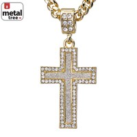 """Jewelry Kay style Men's Iced Out Mini Hip Hop Golden Cross Pendant 24"""" Cuban Link Chain CPB 2052 G"""