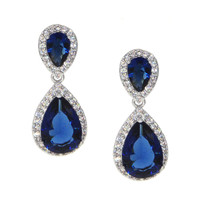 Dear Deer White Gold Plated Classic Blue Teardrop CZ Dangle Earrings