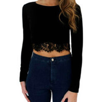 Black Long Sleeve Cropped Top with Lace Accent