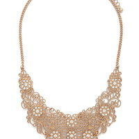 Floral Filigree Bib Necklace