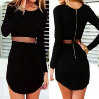 Women's Sexy Long Sleeve Bodycon Slim Irregular Mini Dress = 1956734020