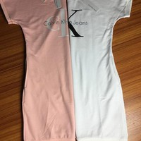 Calvin Klein Women Fashion Short Sleeve Sweatshirt Mini Dress