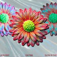 EyeGloArts polymer clay Millefiore Glow Jewelry Red White yellow and Orange Glow in the dark 3D Daisy Pendant  UV neon black light